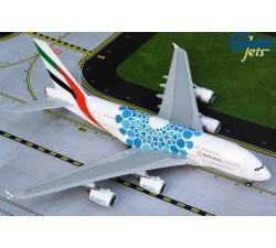 阿聯酋航空 Emirates Airbus A380-800 萬博彩繪機(藍) 1:200
